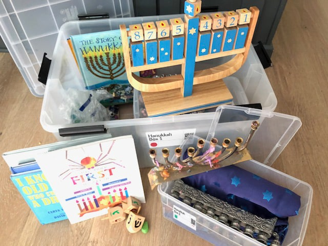 Storage bins with QR labels for organizing and storing Hanukkah & Holiday decorations