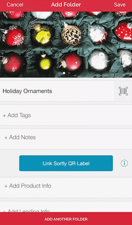 Screenshot of Sortly App for organizing and storing holiday decorations