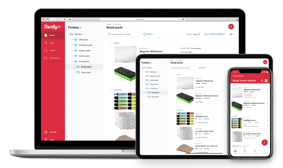 Sortly inventory management software is shown on multiple devices.