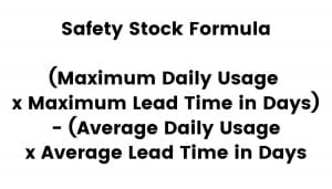 The formula for safety stock is visualized.
