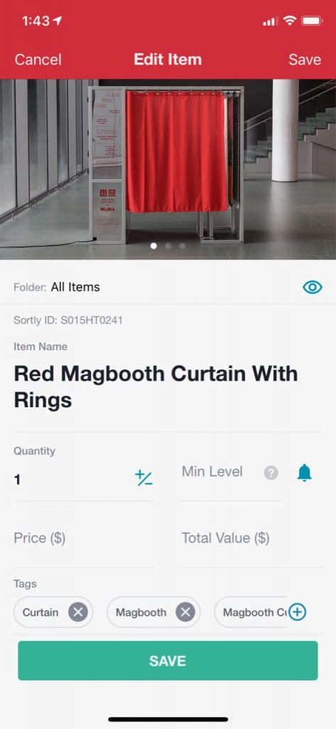 Photography equipment on an inventory app.