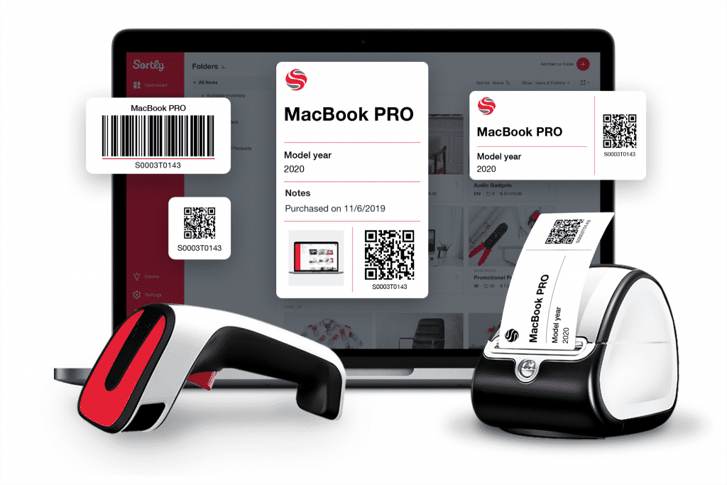 An inventory app being used on a laptop shows barcodes and QR codes being created, scanned and printed.